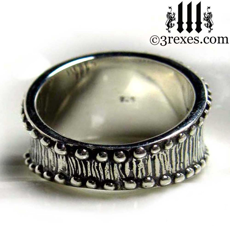 mens studded iron cross ring .925 sterling silver gothic medieval band knights templar masonic jewelry back detail