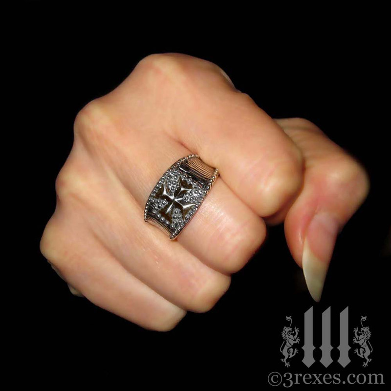 mens studded iron cross ring .925 sterling silver gothic medieval band knights templar masonic jewelry for pirates and wenches