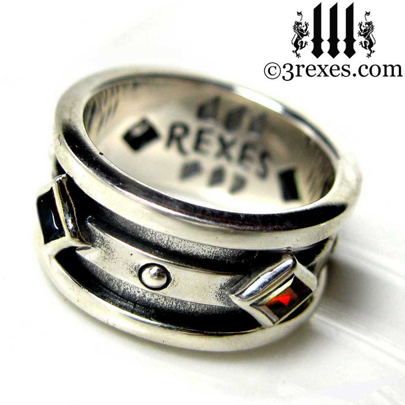 mens moorish gothic .925 sterling silver wedding ring with garnet n black onyx, goth biker band, medieval jewelry