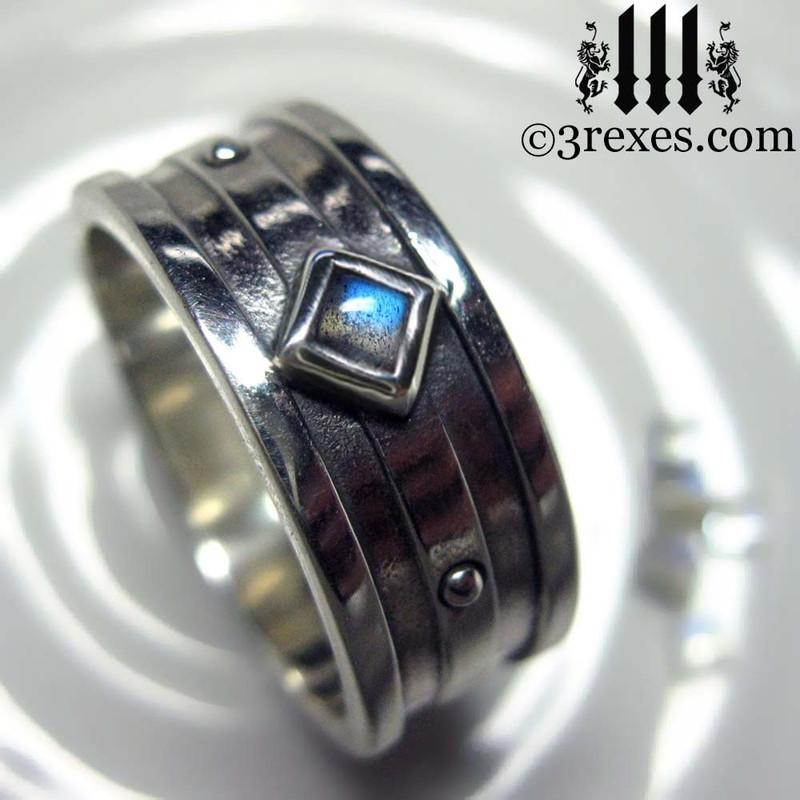 mens silver gothic wedding ring with labradorite stone
