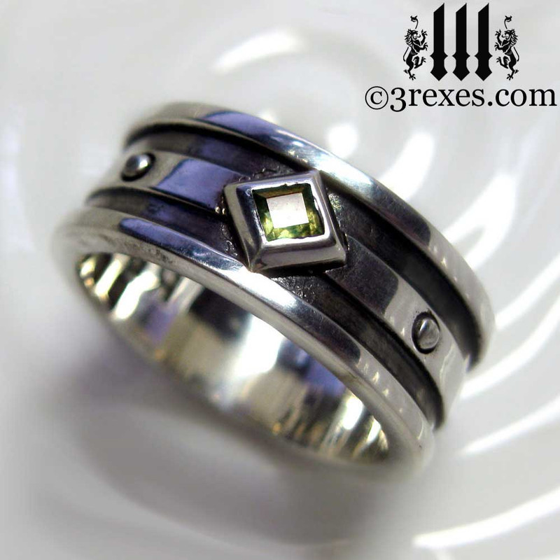 silver gothic wedding ring with green peridot stone, mens silver medieval band, royal jewelry for kings, knights templar jewellery, silver rings for guys, magic ring, august birthstone ring