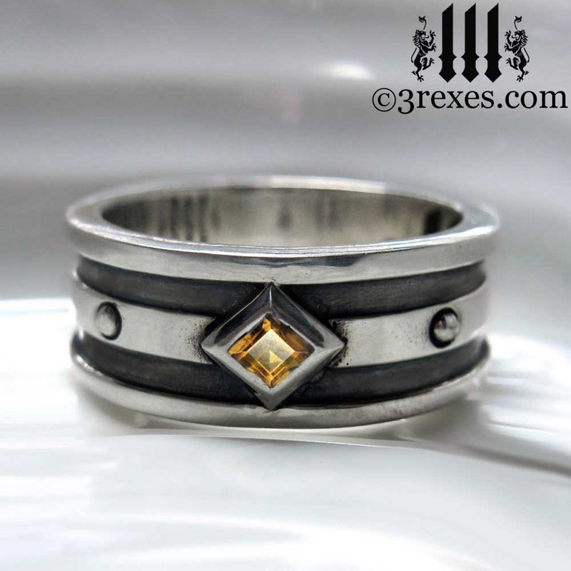 mens goth wedding ring with yellow citrine stone, mens silver medieval band, royal jewelry for kings, knights templar jewellery, silver rings for guys, magic ring, august birthstone ring, unique ring for him