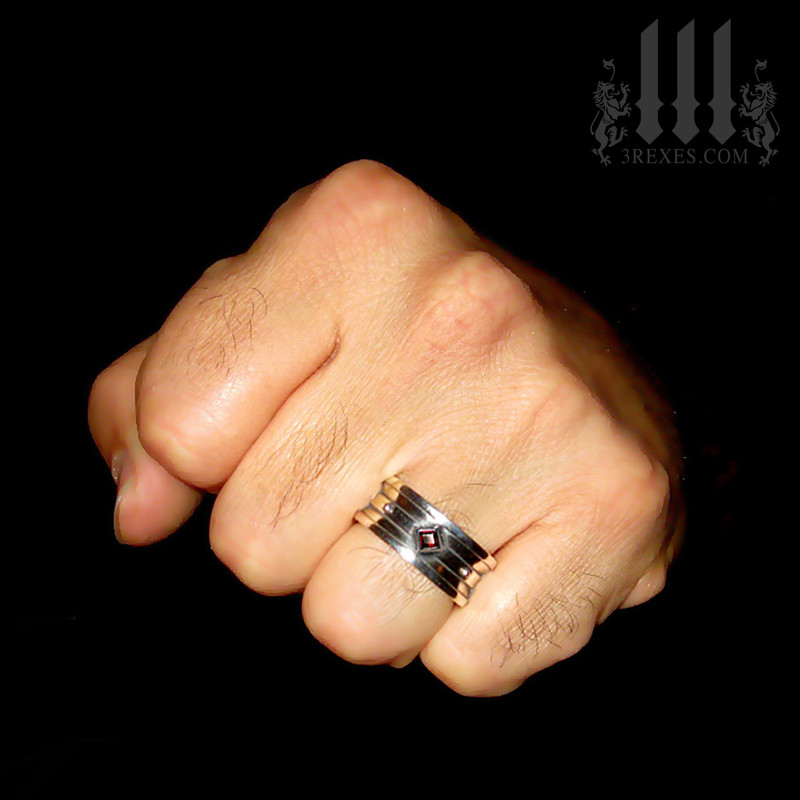 mens biker ring with medieval stone, old world engagement band, royal jewelry for kings, knights templar jewellery, crude silver rings for guys, magic ring, unique rings for lgbtq, unisex garnet promise