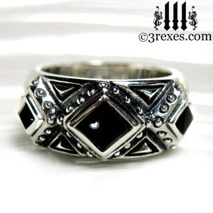 3-kings-wedding-ring-mens-silver-gothic-band-black-onyx-stone-3-rexes-jewelry