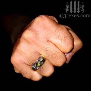 3-kings-wedding-ring-mens-silver-gothic-band-green-peridot-stone-fist-3-rexes-jewelry