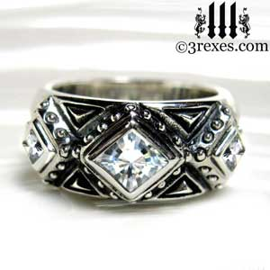 3-kings-wedding-ring-mens-silver-gothic-band-red-white-stone-3-rexes-jewelry-sterling-studs