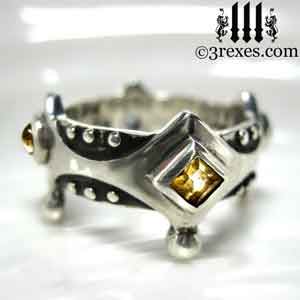 brandy-wine-silver-medieval-wedding-ring-gothic-crown-band-citrine-november-stone-3-rexes-jewelry