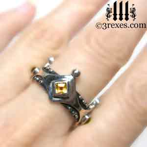 brandy-wine-silver-medieval-wedding-ring-gothic-crown-band-citrine-november-stone-model-3-rexes-jewelry