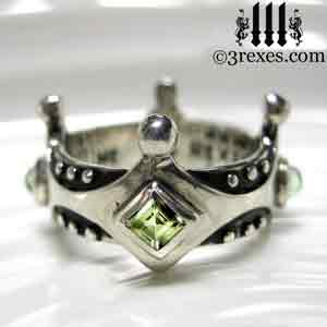 brandy-wine-silver-medieval-wedding-ring-gothic-crown-band-green-peridot-august-stone-3-rexes-jewelry