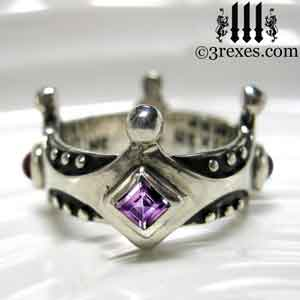 brandy-wine-silver-medieval-wedding-ring-gothic-crown-band-purple-amethyst-february-stone-3-rexes-jewelry