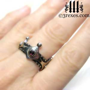 brandy-wine-silver-medieval-wedding-ring-gothic-crown-band-red-garnet-january-stone-model-3-rexes-jewelry