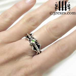 fairy-princess-engagement-ring-green-peridot-stone-sterling-silver-friendship-band-model-august-birthstone