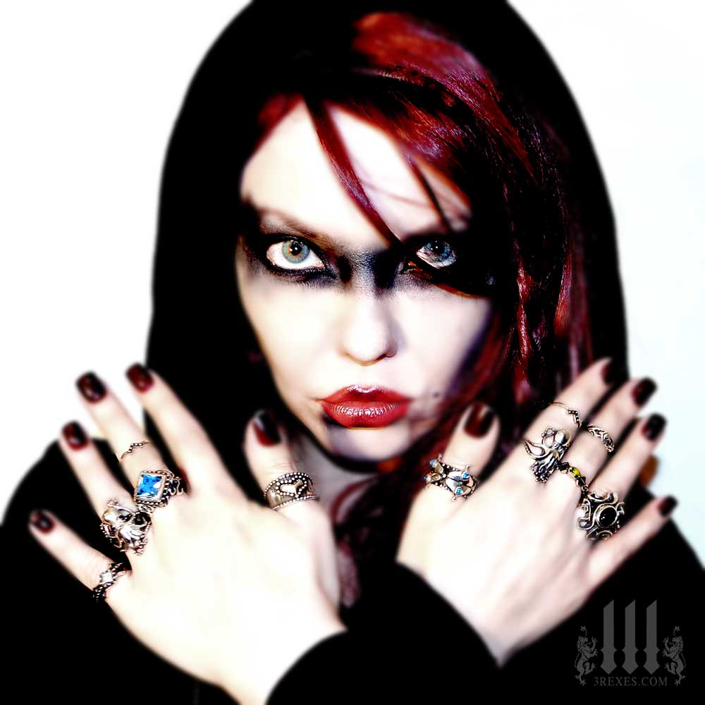 goth model gothic wedding rings, ladies silver jewelry, promise rings for women