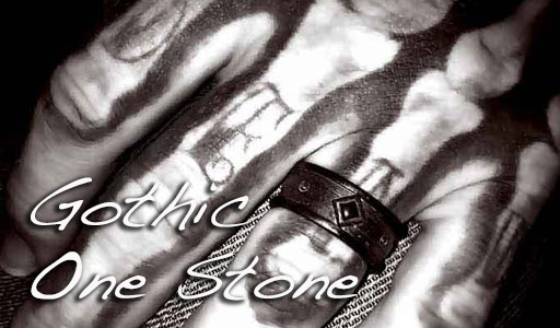 mens gothic ring with tattoo
