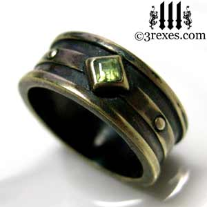 mens moorish gothic one stone ring dark black antiqued brass green peridot stone royal medieval engagement band