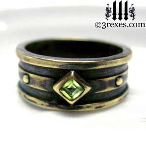 mens moorish gothic one stone ring dark black antiqued brass green peridot stone royal medieval wedding band