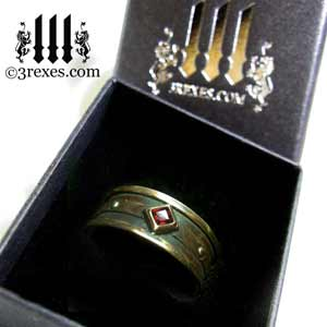 mens moorish gothic one stone ring dark black antiqued brass red garnet stone royal engagement band in ring box