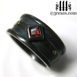 mens moorish gothic one stone ring dark black antiqued brass red garnet stone royal engagement band