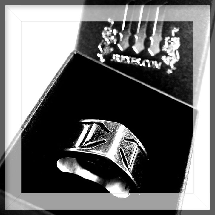 mens iron cross ring, silver masonic band, alt jewelry for guys