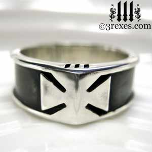 mens-silver-ring-knights-templar-iron-cross-band-rings