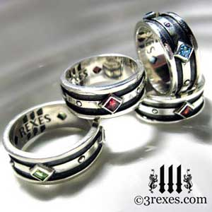 mens-moorish-gothic-silver-rings-3-rexes-jewelry-925-sterling