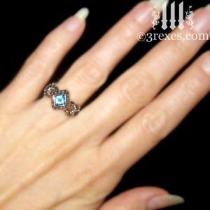 royal princess ring blue topaz stone sterling silver gothic engagement band model view light skin