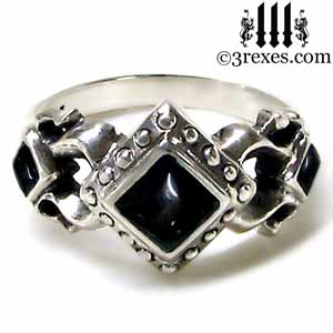 royal princess 925 sterling silver ring goth black onyx stone gothic wedding engagement band