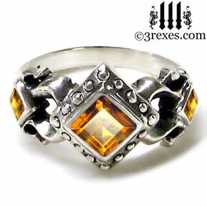 royal princess 925 sterling silver engagement ring yellow citrine stone gothic wedding ring
