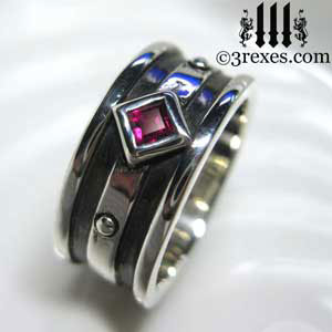 ruby-stone-moorish-gothic-silver-ring-3-rexes-jewelry-silver-wedding-rings-for-men-and-women