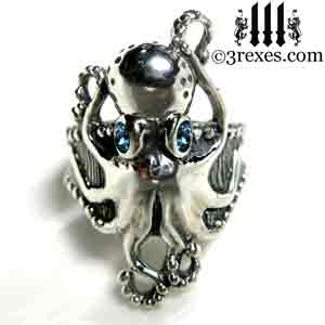 silver-octopus-dream-ring-blue-topaz-stone-eyes-studded-band december birthstone by 3 rexes jewelry