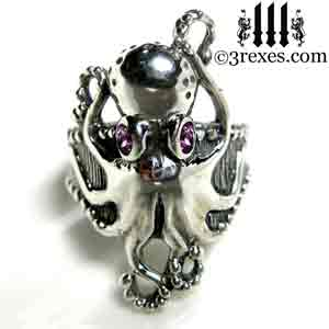 silver-octopus-dream-ring-purple-amethyst-stone-eyes-studded-band february birthstone by 3 rexes jewelry