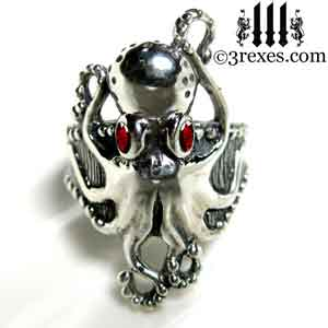 silver-octopus-dream-ring-red-garnet-stone-eyes-studded-band january birthstone by 3 rexes jewelry