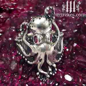 silver-octopus-ring-with ruby stones january birthstone