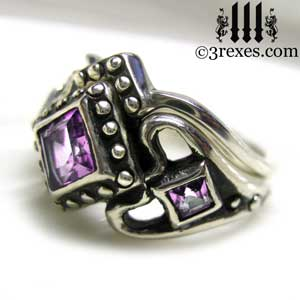 silver princess love ring stacking ring wedding set purple amethyst stone by 3 rexes jewelry