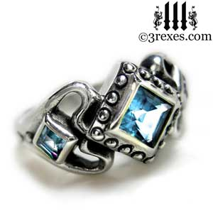 womens sterling silver princess love ring blue topaz stone gothic engagement band side detail