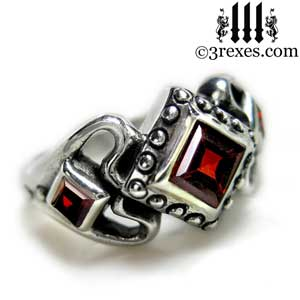 womens sterling silver princess love ring garnet stone gothic engagement band side detail
