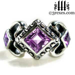 womens sterling silver princess love ring purple amethyst stone gothic engagement band february birthstone