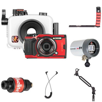 Ikelite Underwater Housing, Olympus Tough TG-6 Camera and Strobes Wide Angle Kit