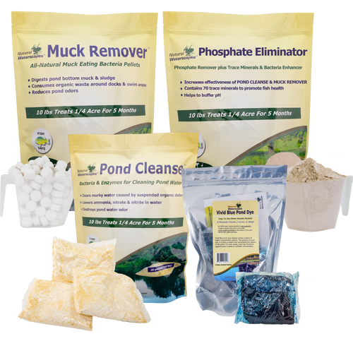 Clean Pond Maintenance Kit - natural pond cleaner, muck remover, pond dye, pond clarifier View Product Image