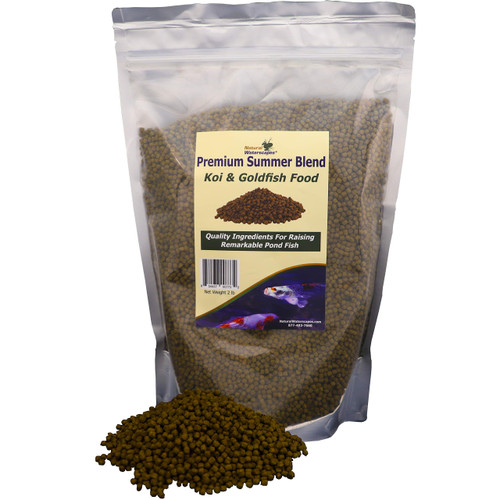 Koi Food Floating Pellets | Premium Summer Blend Pond Fish Food | Staple Feed for Koi and Goldfish | 2 lb Resealable Bag View Product Image