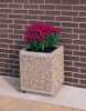Outdoor Square Concrete Planter TF4185 with Flowers Exposed Aggregate