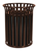 37 Gallon Metal Outdoor Street Scape Trash Can Brown