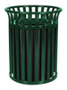 37 Gallon Metal Outdoor Street Scape Trash Can Green