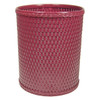 Chelsea Wicker Round Wastebasket Raspberry