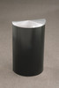 14 Gallon Half Round Trash Can with Hinged Lid Satin Black with Satin Aluminum Lid