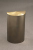 14 Gallon Half Round Trash Can with Hinged Lid Bronze Vein with Satin Aluminum Lid