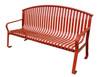 6 Foot Metal Flat Steel Public Park Bench MF2201 Red