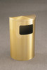 6 Gallon Half Round Side Opening Trash Can with Hinged Lid Satin Brass