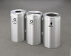 Connectable Metal Recycling Trash Can Combo 23 Gallons Each Satin Aluminum
