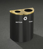 29 Gallon Dual Half Round Recycling Trash Can Hinged Lid Satin Black with Satin Brass Cover Bottles & Cans and Waste Openings